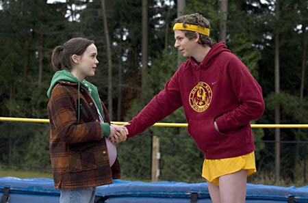 Pregnant Pause: Ellen Page and Michael Cera moments before the delivery
