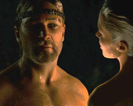 Through the miracle of computer technology, Ray Winstone looks like Russell Crowe and Angelina Jolie looks like herself